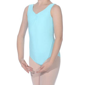 ANTONIA - ISTD STYLE LEOTARD WITH ADJUSTABLE RUCHE Dancewear Dancers World Aqua 00 (Age 2-4)