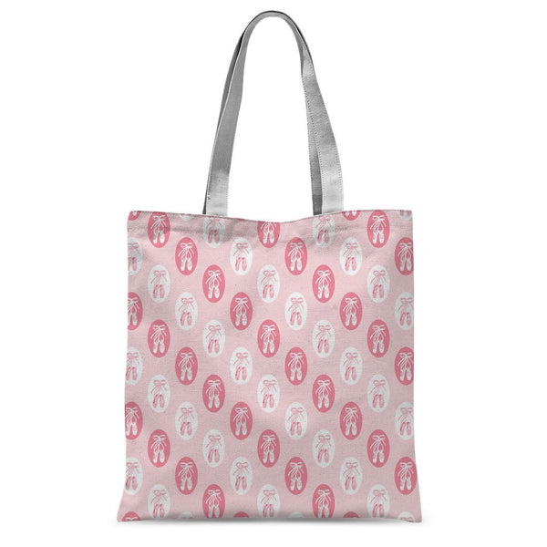 "BALLET SHOE OVALS SUBLIMATION PRINTED TOTE BAG Accessories Click Dancewear 15""x16.5"" 15""x16.5"""