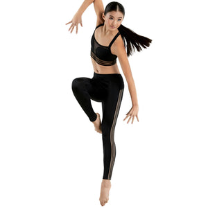 BLACK SHADOW STRIPE CROP TOP Dancewear Balera