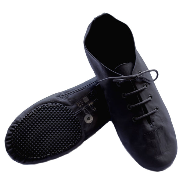 BLACK SPLIT SOLE JAZZ SHOE WITH RUBBER FRONT AND HEEL Dance Shoes Dancers World
