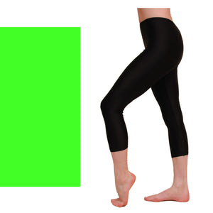 CAPRI - CALF LENGTH LEGGINGS Dancewear Dancers World Fluorescent Green 00 (Age 2-4)