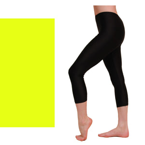 CAPRI - CALF LENGTH LEGGINGS Dancewear Dancers World Fluorescent Yellow 00 (Age 2-4)