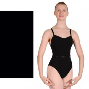 CAROLINE - PLAIN FRONT COTTON CAMISOLE LEOTARD WITH BELT Dancewear Dancers World Black 1 (Age 6-8)