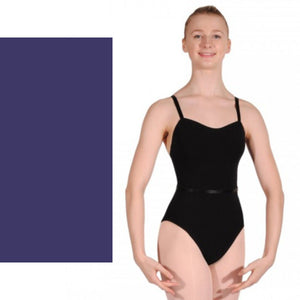 CAROLINE - PLAIN FRONT COTTON CAMISOLE LEOTARD WITH BELT Dancewear Dancers World Navy Blue 1 (Age 6-8)