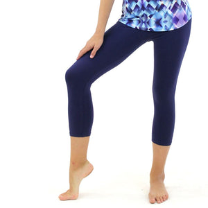 CCAPRI - NAVY BLUE COTTON LYCRA CAPRI LEGGINGS/TIGHTS Dancewear Dancers World
