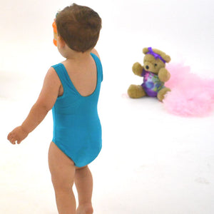 CHARLIE - BABY SIZES - SLEEVELESS PLAIN FRONT LEOTARD Dancewear Dancers World Kingfisher 0-3 Months