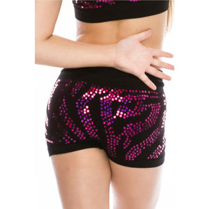 CHILDS ZEBRA SEQUIN SEAMLESS BOY SHORTS Dancewear Kurve Fuschia Sequin One Size (Age 4 - 8)