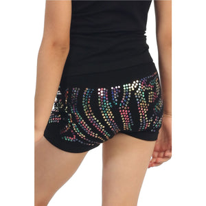 CHILDS ZEBRA SEQUIN SEAMLESS BOY SHORTS Dancewear Kurve Multi Sequin One Size (Age 4 - 8)