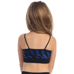 CHILDS ZEBRA SEQUIN SEAMLESS CAMISOLE CROP TOP Dancewear Kurve