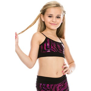 CHILDS ZEBRA SEQUIN SEAMLESS CAMISOLE CROP TOP Dancewear Kurve Fuschia Sequin One Size (Age 4 - 8)
