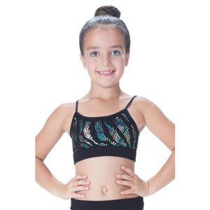 CHILDS ZEBRA SEQUIN SEAMLESS CAMISOLE CROP TOP Dancewear Kurve Multi Sequin One Size (Age 4 - 8)