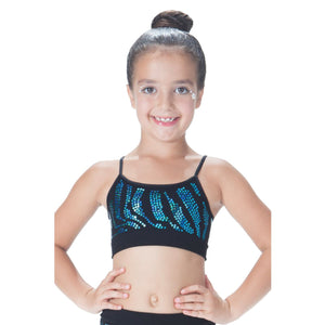 CHILDS ZEBRA SEQUIN SEAMLESS CAMISOLE CROP TOP Dancewear Kurve Turquoise Sequin One Size (Age 4 - 8)