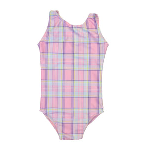 CHLOE - PINK CHECK SLEEVELESS LEOTARD Dancewear Click Dancewear