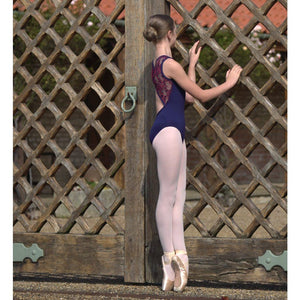 CHRISTY - BOAT NECK NAVY POPPER BACK LEOTARD WITH CORAL MESH Dancewear Click Dancewear