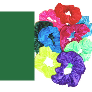 CRUSHED VELOUR HAIR SCRUNCHIES Accessories Dancers World Bottle Green Velour