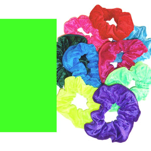 CRUSHED VELOUR HAIR SCRUNCHIES Accessories Dancers World Fluorescent Green Velour