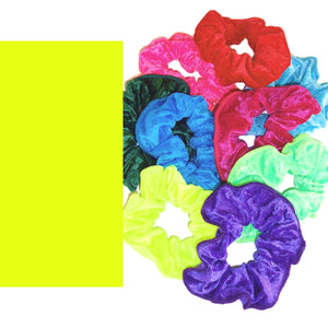CRUSHED VELOUR HAIR SCRUNCHIES Accessories Dancers World Fluorescent Yellow Velour