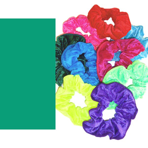 CRUSHED VELOUR HAIR SCRUNCHIES Accessories Dancers World Jade Green Velour