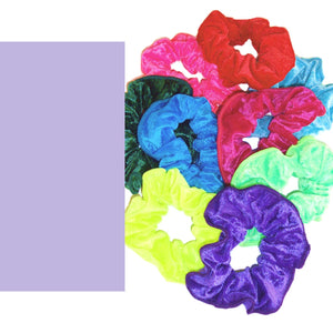 CRUSHED VELOUR HAIR SCRUNCHIES Accessories Dancers World Lavender Velour