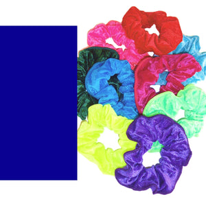 CRUSHED VELOUR HAIR SCRUNCHIES Accessories Dancers World Royal Blue Velour