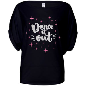 DANCE IT OUT - FLOWY CIRCLE TOP - WITH OR WITHOUT LOGO STARS Ladies Flowy Circle Top Personally Printed Black S (Size 6/8)