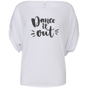 DANCE IT OUT - FLOWY CIRCLE TOP - WITH OR WITHOUT LOGO STARS Ladies Flowy Circle Top Personally Printed White - no stars S (Size 6/8)