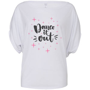 DANCE IT OUT - FLOWY CIRCLE TOP - WITH OR WITHOUT LOGO STARS Ladies Flowy Circle Top Personally Printed White S (Size 6/8)