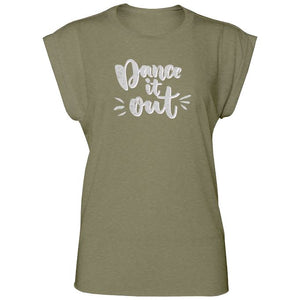 DANCE IT OUT WOMENS FLOWY ROLLED CUFF MUSCLE T-SHIRT - DARK COLOURS Ladies Flowy Rolled Cuff Muscle T-Shirt Personally Printed Heather olive S (Size 6/8)