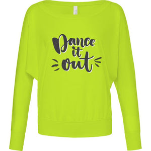 DANCE IT OUT - WOMENS LONG SLEEVE FLOWY TOP IN LIGHT & NEON COLOURS Ladies Flowy Long Sleeve T-Shirt Personally Printed Neon yellow S (Size 6/8)
