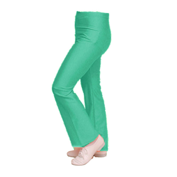 DANNI - JADE GREEN NYLON LYCRA JAZZ PANTS / TROUSERS Dancewear Dancers World