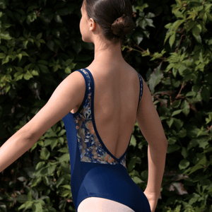 DARCIE - NAVY BOAT NECK LEOTARD WITH FLORAL LACE LOW V BACK Dancewear Click Dancewear