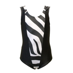 DASH - ZEBRA PRINT PANEL SLEEVELESS LEOTARD Dancewear Click Dancewear
