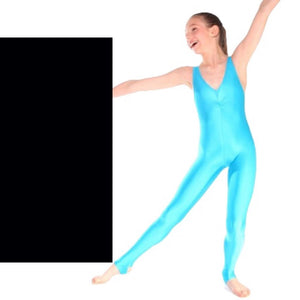 DEBBIE - ARABESQUE SLEEVELESS GATHERED FRONT CATSUIT - BLACK SIZE 2A (AGE 10-11) Dancewear Arabesque