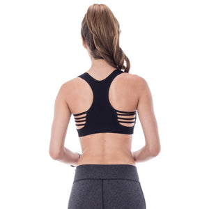 DOUBLE LAYERED MESH BACK SPORTS BRA WITH SUPPORT Dancewear Kurve Black One Size (Youth - Medium Adult)