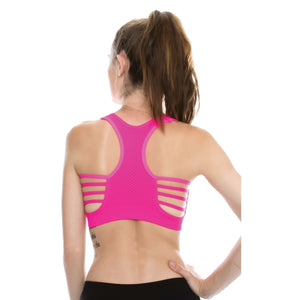 DOUBLE LAYERED MESH BACK SPORTS BRA WITH SUPPORT Dancewear Kurve Neon Fuschia One Size (Youth - Medium Adult)