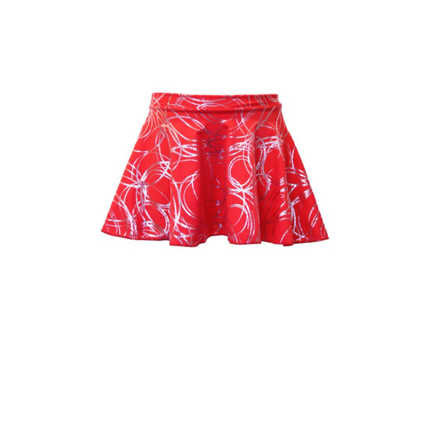 ECS - RED / SILVER SWIRL CIRCULAR SKIRT Dancewear Dancers World