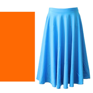 ECSL - LONGER LENGTH CIRCULAR SKIRT Dancewear Dancers World Fluorescent Orange Medium Child