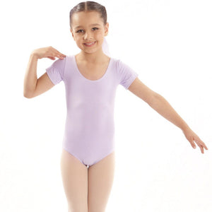 EMILY - NAVY SHORT SLEEVE COTTON LEOTARD Dancewear Dancers World Navy 0 (Age 4-6)