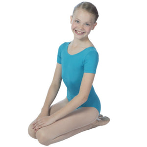 EMILY - SHORT SLEEVE COTTON LEOTARD Dancewear Dancers World Marine Blue 000 (Toddler)