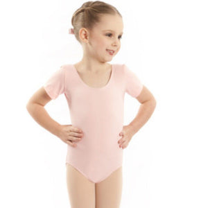 EMILY - SHORT SLEEVE COTTON LEOTARD Dancewear Dancers World Pale Pink 000 (Toddler)