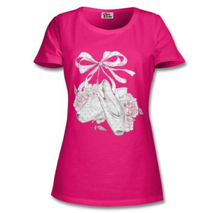 FLORAL POINTE DANCE FITTED CAP SLEEVE T-SHIRT - PROFITS FOR NHS Unisex T-Shirt Click Dancewear Fuscia S