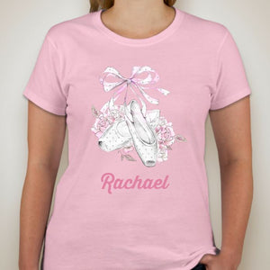 FLORAL POINTE DANCE T-SHIRT - UNISEX ADULT REGULAR FIT - PLAIN OR PERSONALISED Unisex T-Shirt Personally Printed Light Pink S (34-36 inch chest)