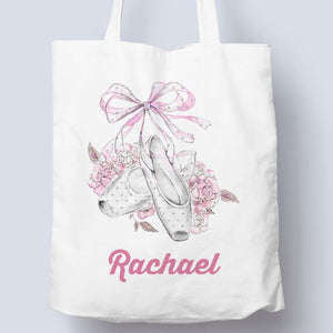FLORAL POINTE - PLAIN OR PERSONALISED TOTE BAG Tote Bag Personally Printed Print One Side White Tote