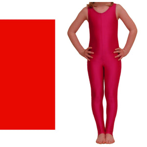 GEORGIE - SLEEVELESS STIRRUP FOOT CATSUIT Dancewear Dancers World Red 00 (Age 2-4)