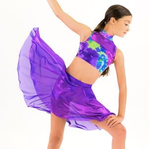 GLIMMER - PURPLE SPIRIT NET LONGER TAPERED SKIRT Dancewear Click Dancewear