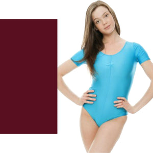 HALEY - SHORT SLEEVE LEOTARD Dancewear Dancers World Burgundy 00 (Age 2-4)