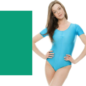 HALEY - SHORT SLEEVE LEOTARD Dancewear Dancers World Jade Green 00 (Age 2-4)