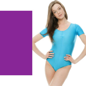 HALEY - SHORT SLEEVE LEOTARD Dancewear Dancers World Purple 00 (Age 2-4)