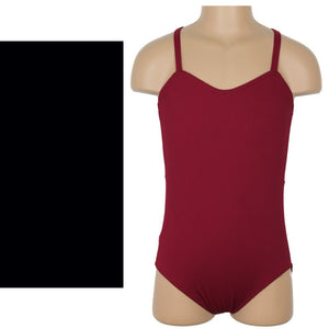 HARPER - MATT RIB CAMISOLE MESH BACK PANEL LEOTARD Dancewear Click Dancewear Black 00 (Age 2-4)