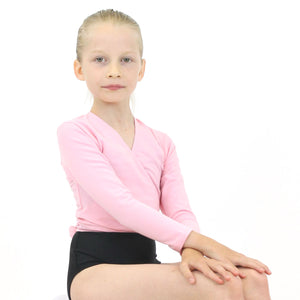 HARRIET - COTTON LYCRA CROSSOVER WRAP CARDIGAN Knitwear Dancers World Pale Pink 00 (Age 2-4)